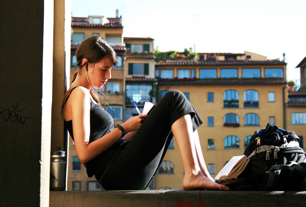 Turista a Ponte Vecchio