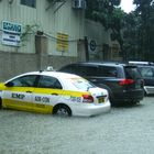 Two Cars on A Floody Float