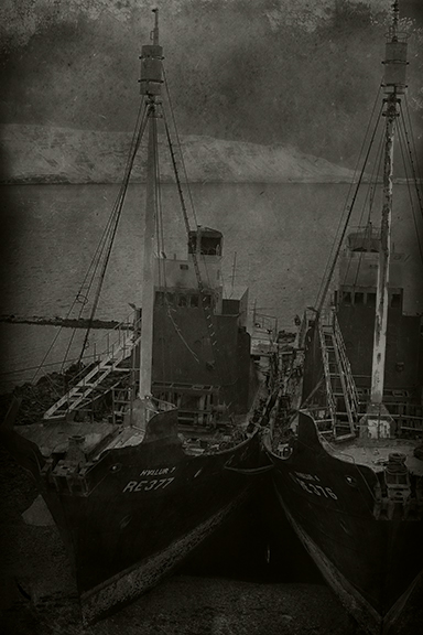 Two Ships Anchored Side by Side