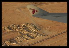 Über dem Himmel von Qatar