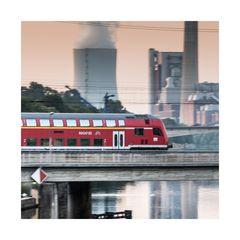 Über dem Neckar in Heilbronn