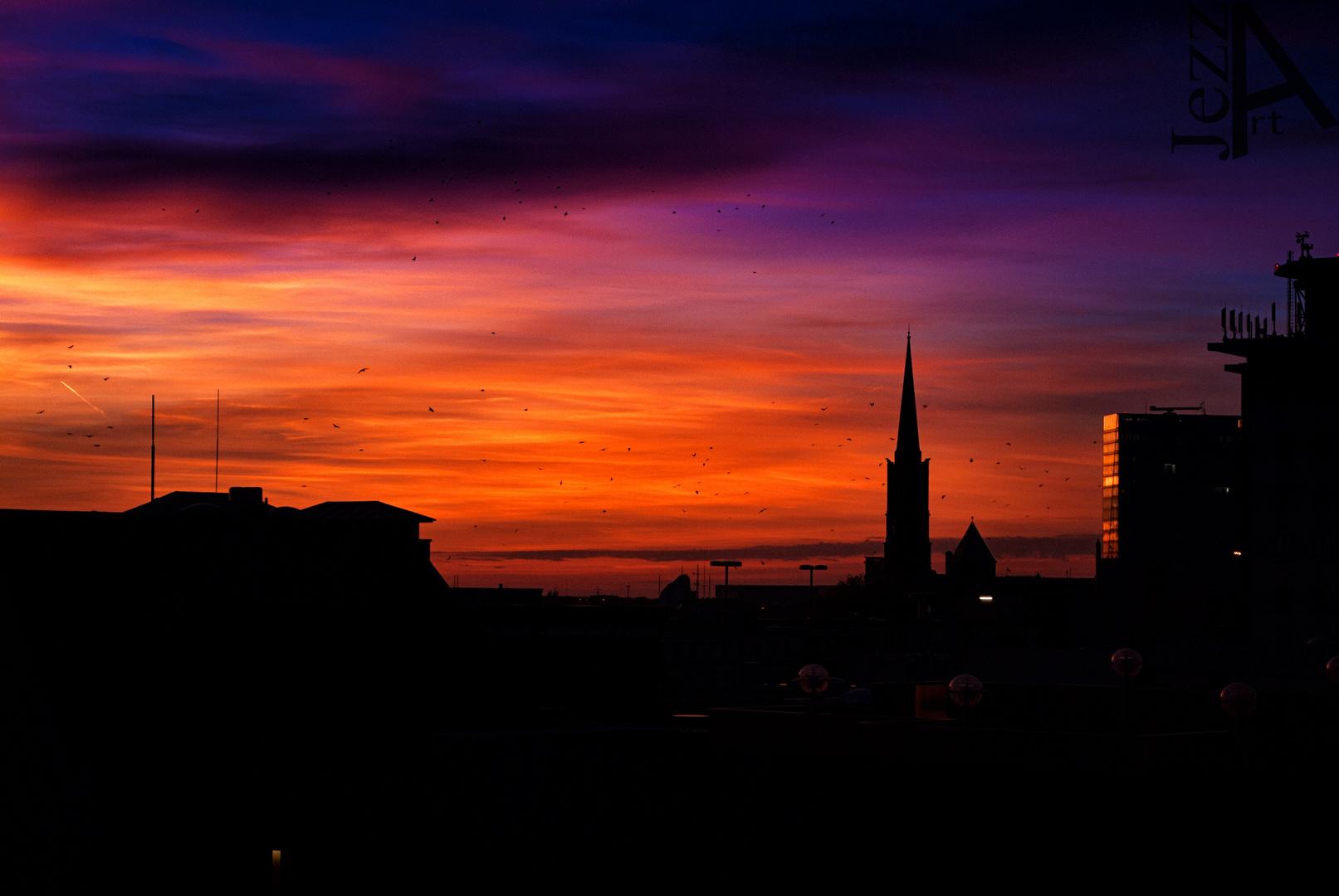 Über den Dächern der Stadt von Bremen.