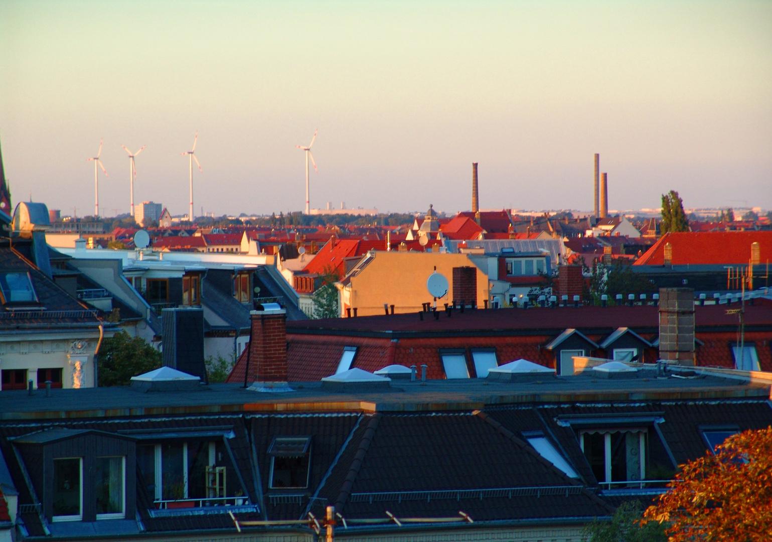 Über den Dächern von Leipzig zur Abendsonne