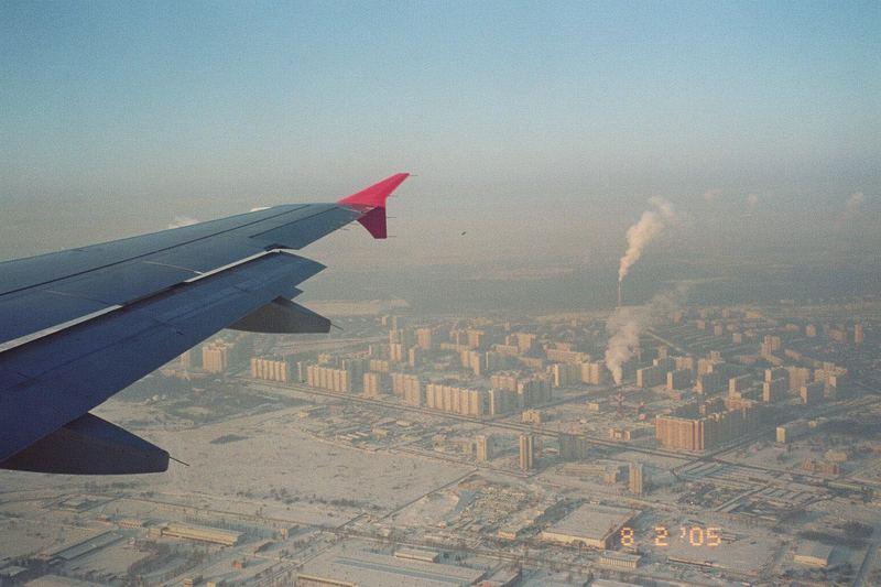 über Moskau im Winter fligen