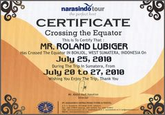 Überquerung Äquator auf dem Landweg