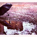 Un attimo di sosta in un giorno di pioggia alle terme di Caracalla..