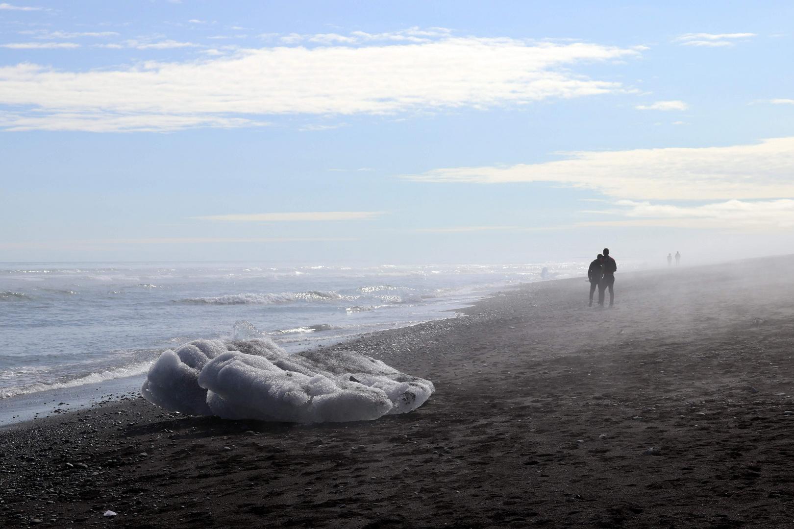 Un Iceberg échoué sur une plage noire
