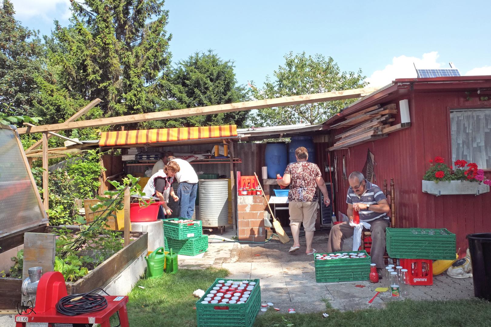 Una tradizione, farsi la salsa di pomodori in casa.