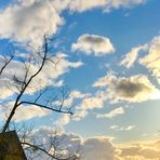 Und am Himmel , vom Wind gejagte Wolken
