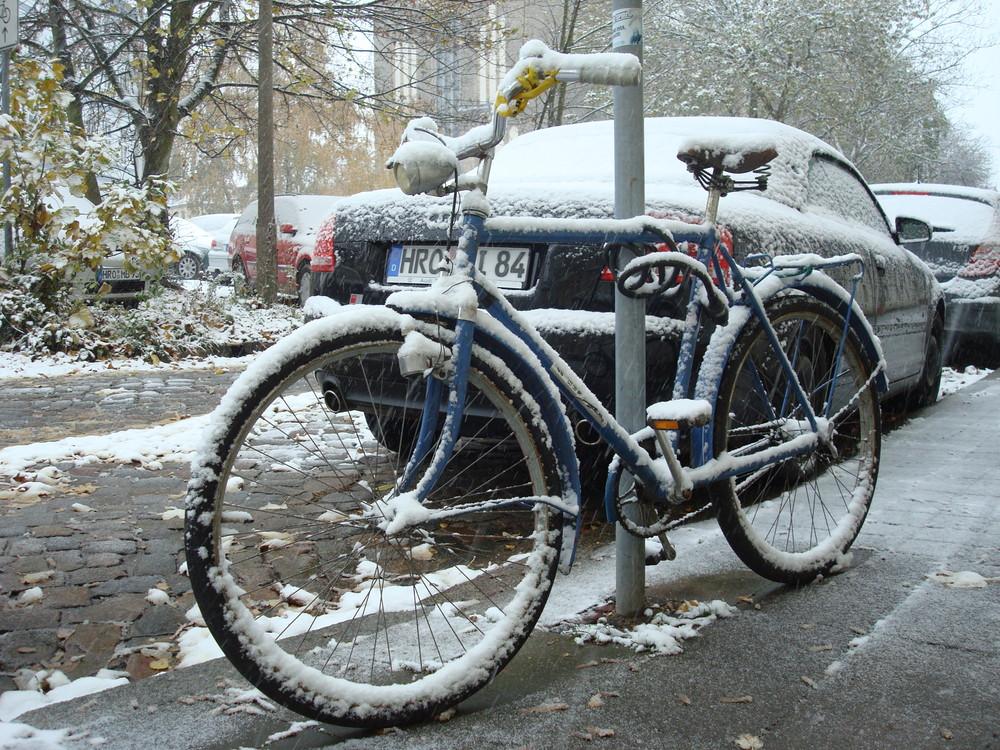 Und wir fahren mit dem Fahrrad um den Platz