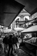 Under the big market tents