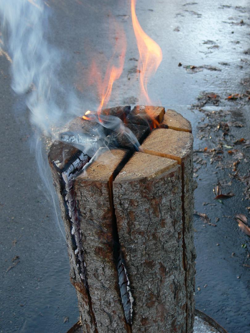 Une nouvelle idée du brasero = un tronc+ une tronçonneuse et voila !!!!