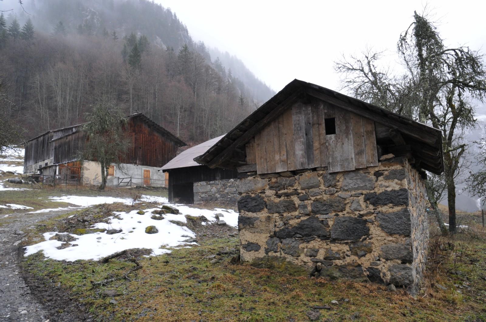 """Une petite ferme en direction du lieu dit les"""" Allamands """" du cote de Samoens"""