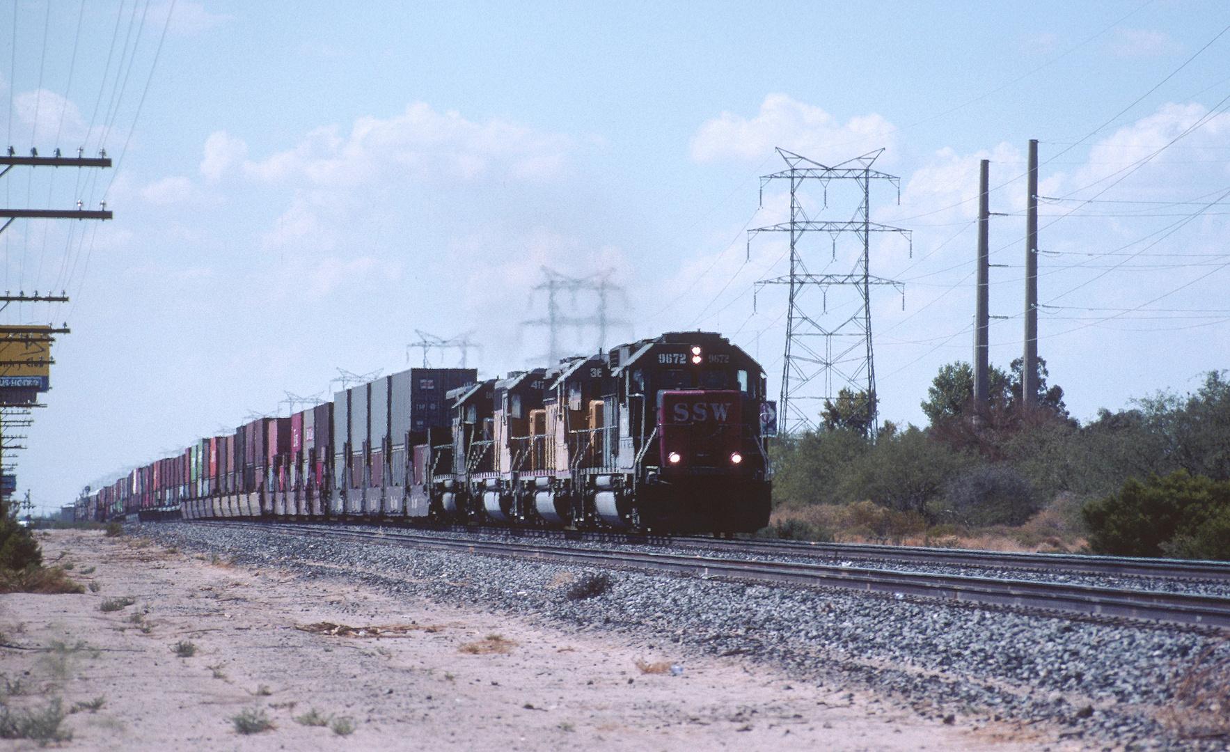 Union Pacific Double Stack Train on its way near Tucson, AZ, USA