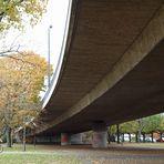 Unter der Rheinkniebrücke in Düsseldorf ~