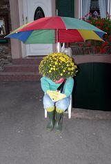 unter einem Regenschirm