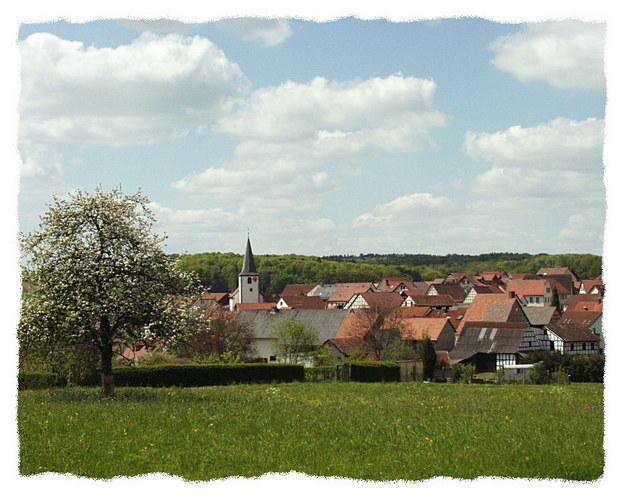 Unterfränkisches Dorf im Frühling ...