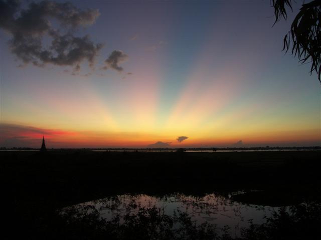 Unusual sunset in Cambodia