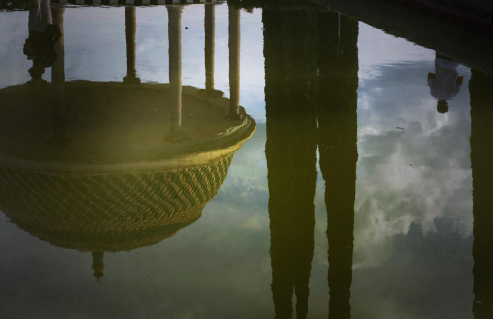 Upside down.