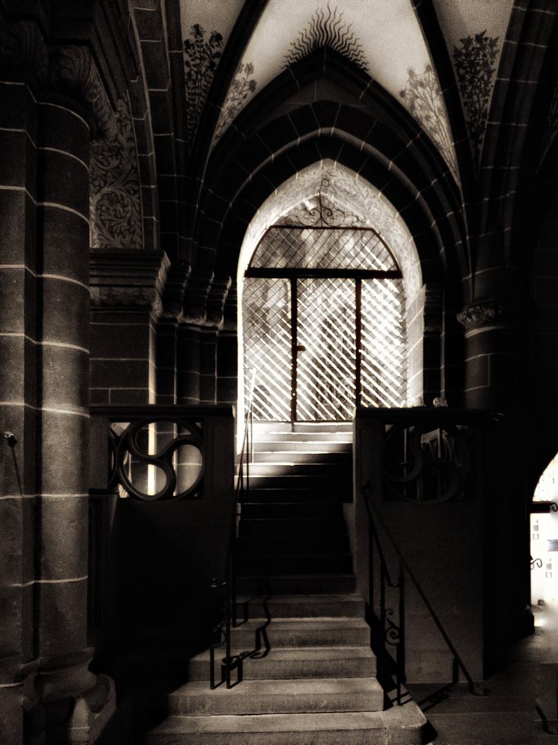 upstairs into light