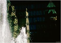 Vancouver Impression No.1 - Centennial Fountain and Reflections in a Glass Wall