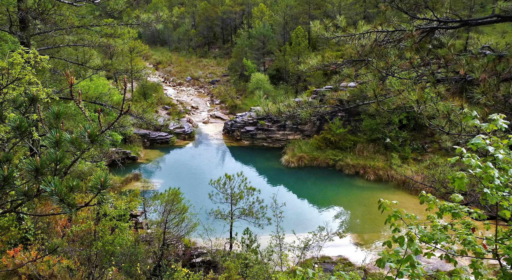 Vasque dans un canyon Aragonais (Espagne)