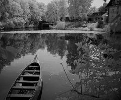 Verträumte Landschaft an der Werse im Münsterland  - in Infrarot -...##2119##