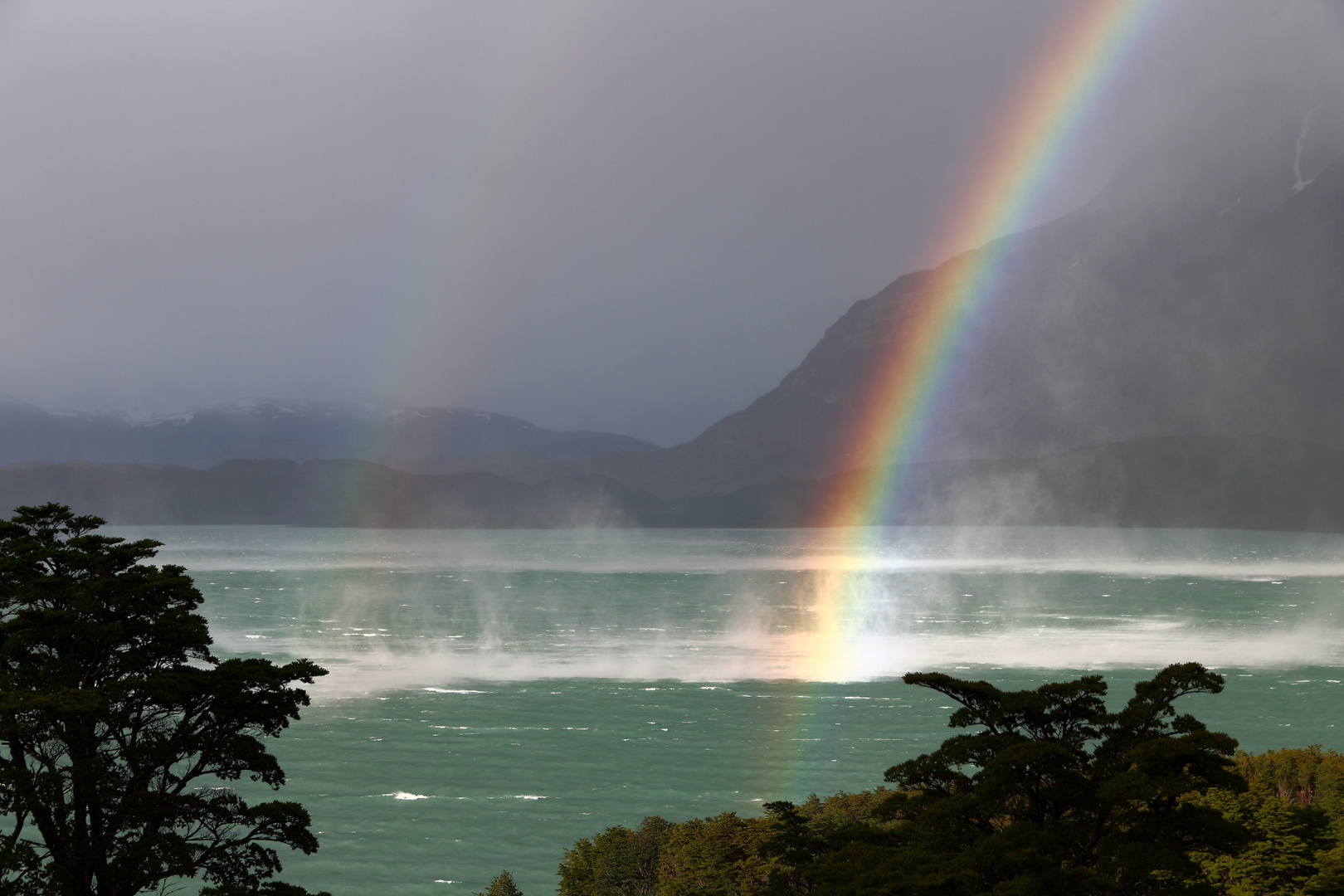 very strong wind on Lago Nordenskjöld blowing up the water, Parque Nacional Torres del Paine - Patag