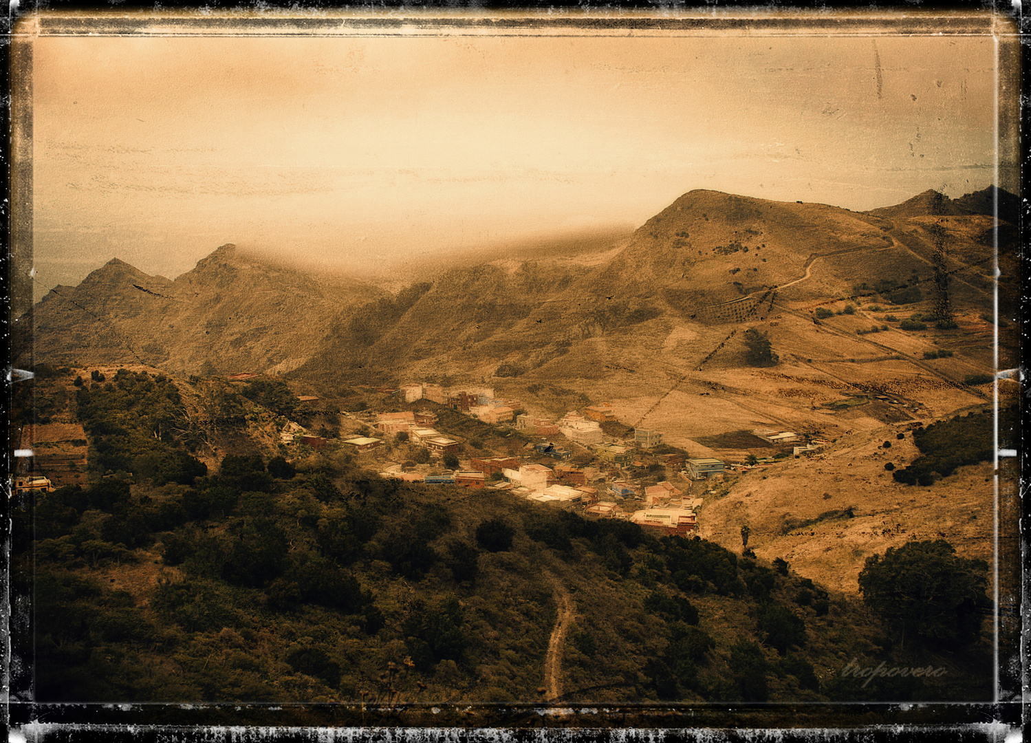 Viejo grabado con paisaje