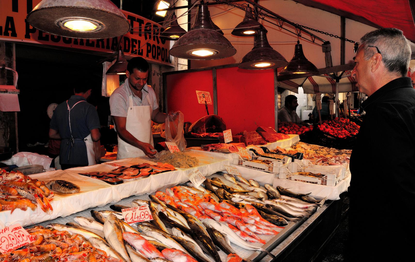 Vielfältige Auswahl auf dem Fischmarkt