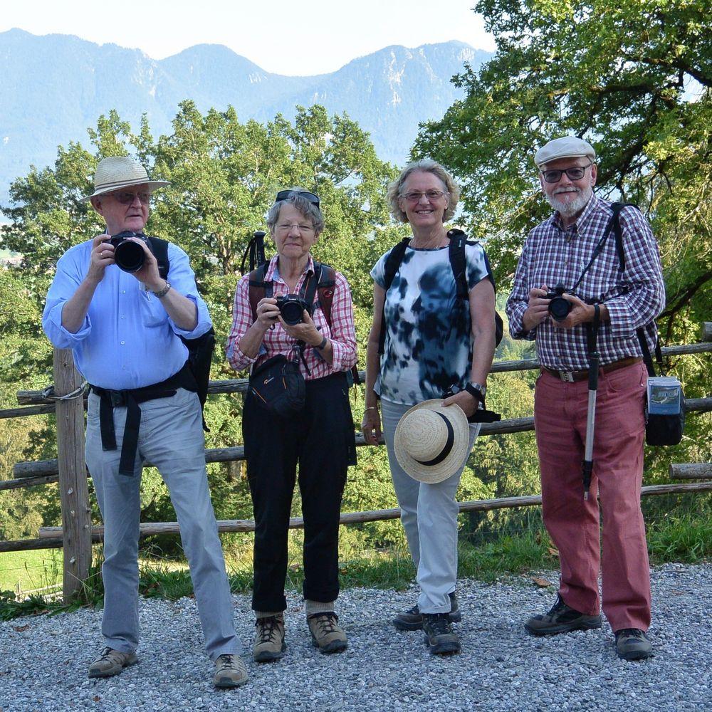 Vier Foto-Communisten in den Alpen