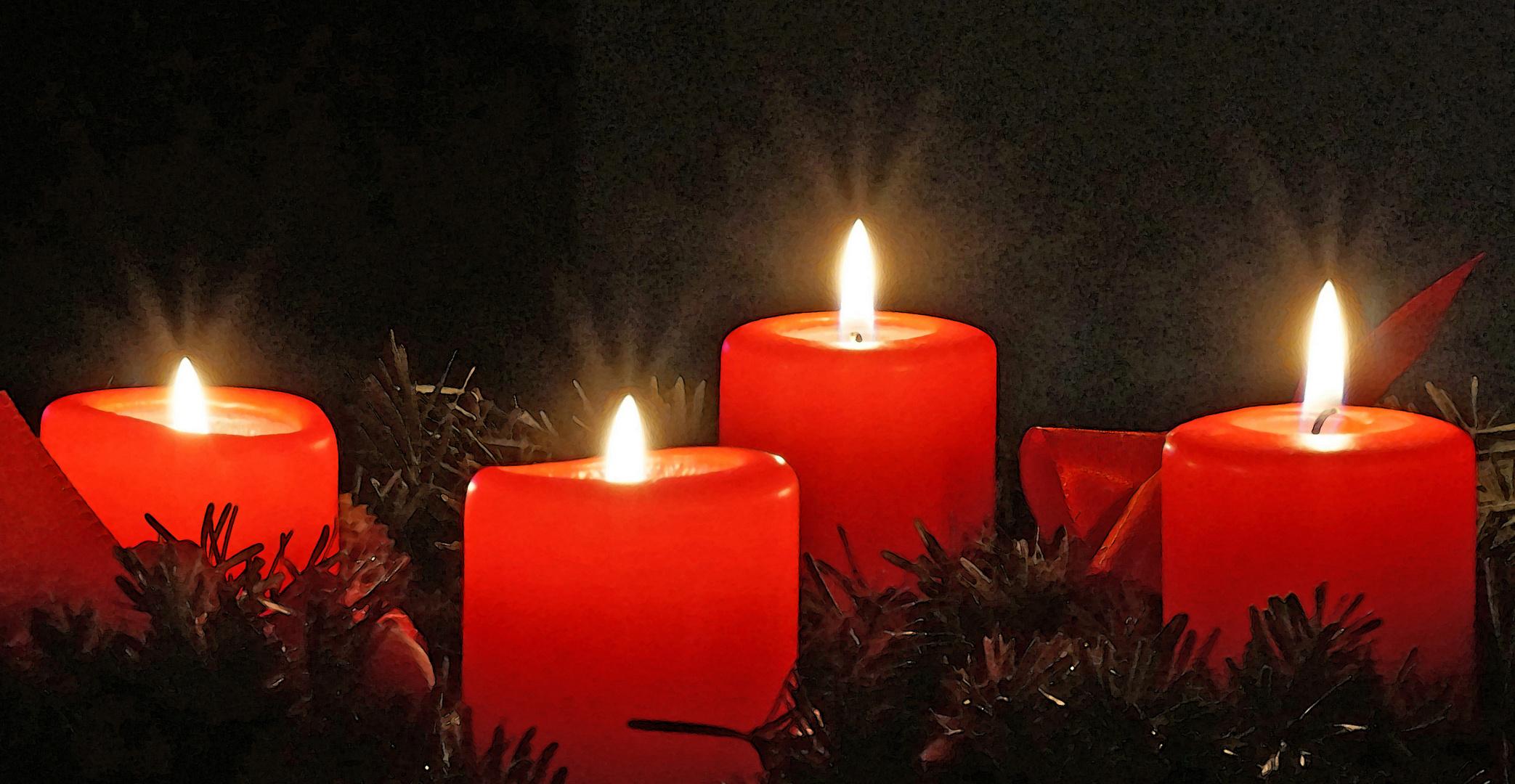 Vier Kerzen brennen schon ...