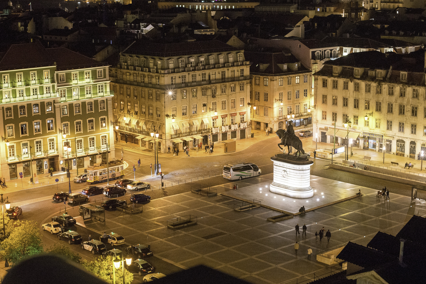 View at the night square