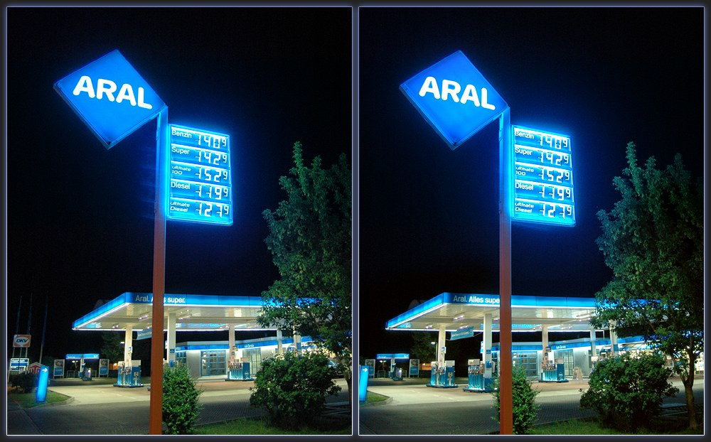Vivid Blue Gas Station [X-View]