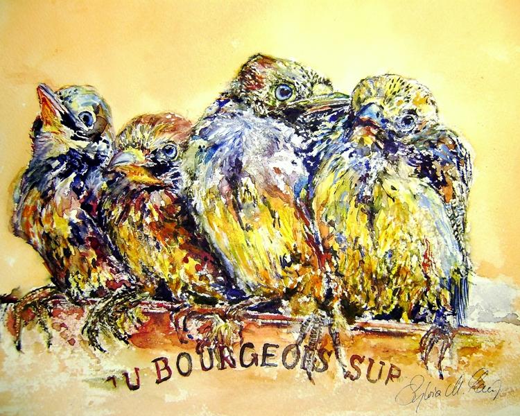 Vogelkinder - 4 kleine Eichelhäher