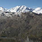Vom Rimpfischhorn 4199m  bis zum Matterhorn 4478m  auch mit Tiefblicken wobei...