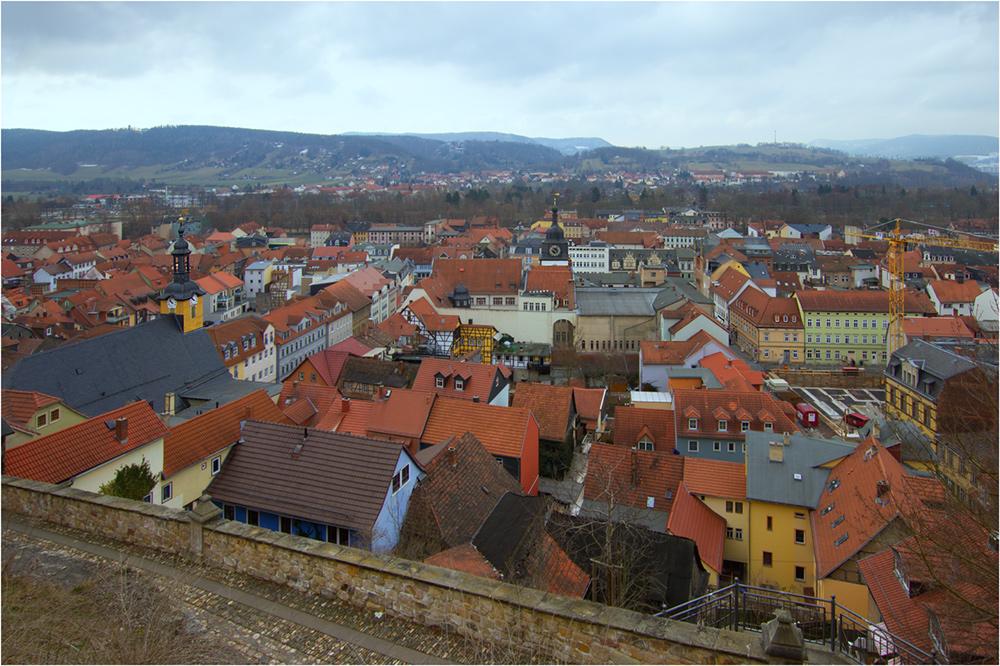 vom Schloss Heidecksburg Blick über