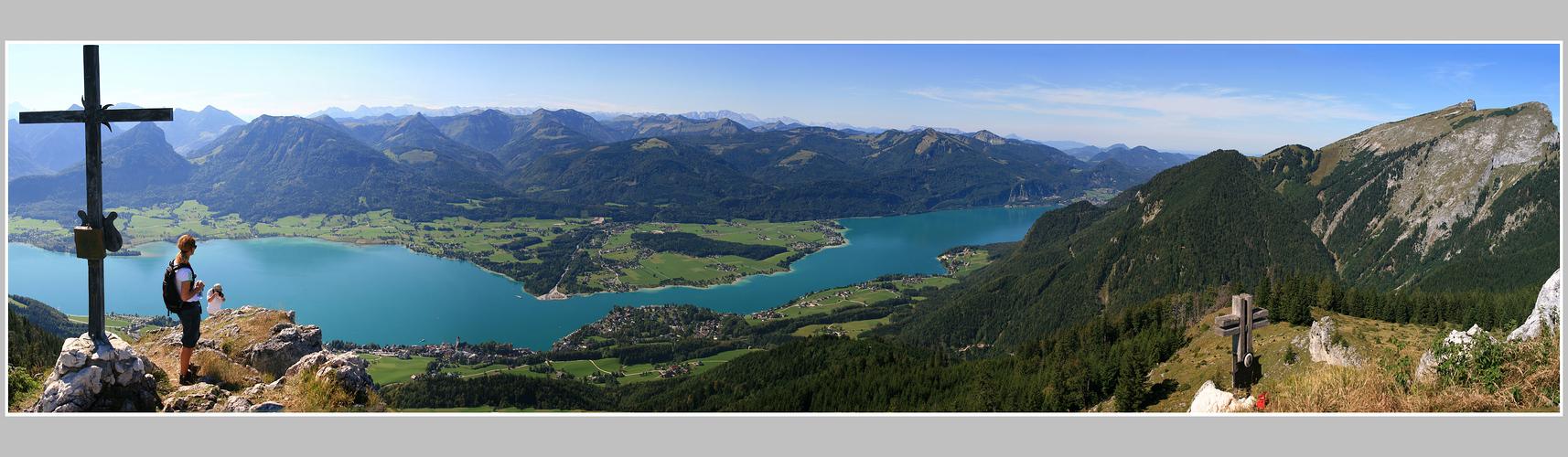 Von der Vormauer (1450m) auf den Wolfgangsee