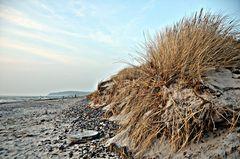 Von der Wintersturmflut geprägter Strand in Vitte