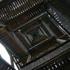 Von unten in den Goetheturm geschaut.