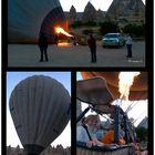 Vorbereitung zu einer Fahrt mit dem Heißluftballon über diese bizarre Landschaft