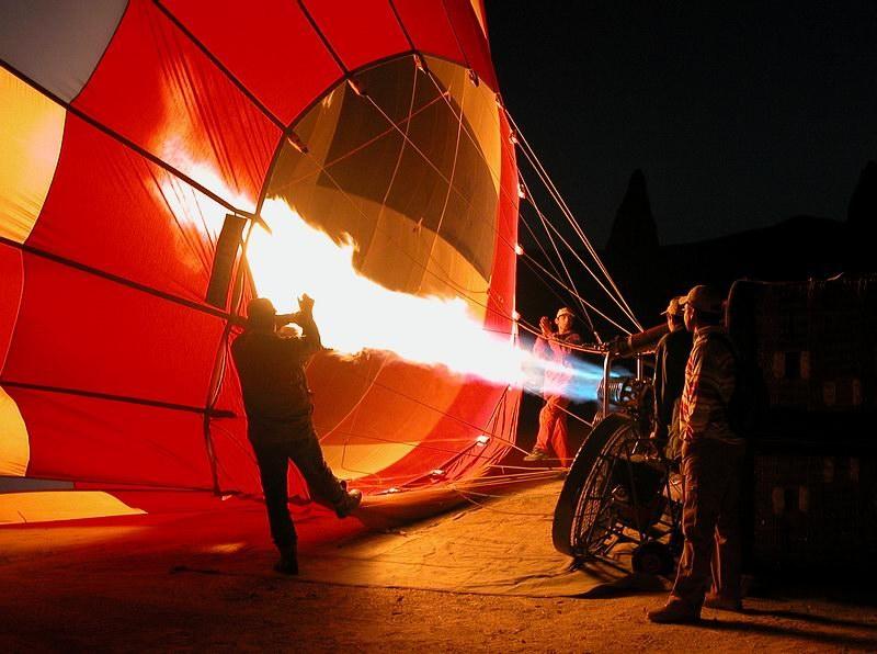 Vorbereitung zur Ballonfahrt