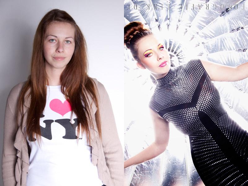 Vorher Nachher Model Sarah, Fotografie Link, Visa ich