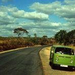 VW-Bus - Bulli -  mit deutschem Nummernschild unter afrikanischer Sonne