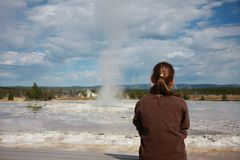 waiting for the geyser