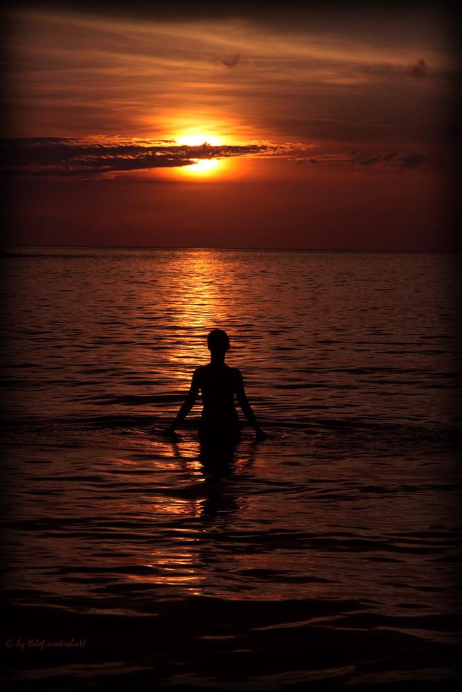 Walking at the sunset
