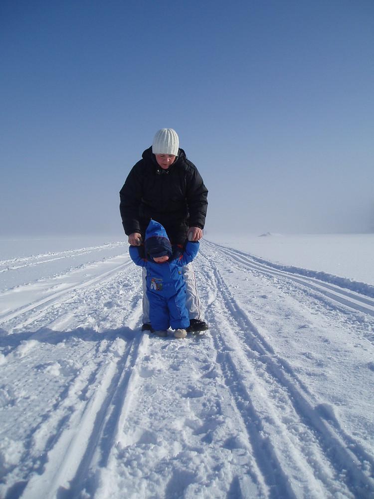 Walking on the ice in Hanko, Finland