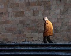 walking towards the church