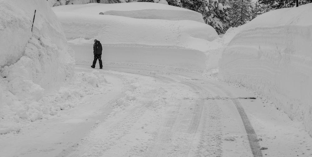 Walking towards white nowhere