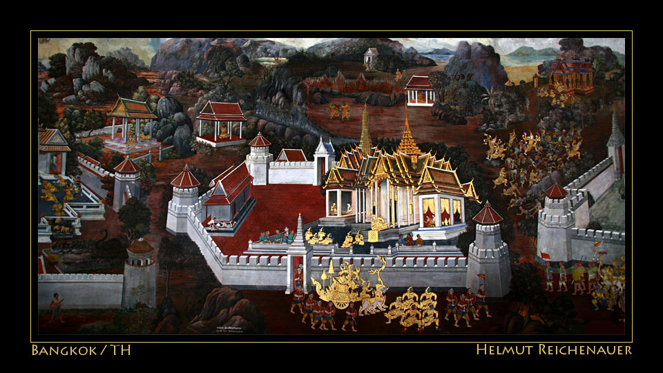 Wall Painting 'Ramakien' II, Wat Phra Kaew / Temple of the Emerald Buddha, Bangkok / TH